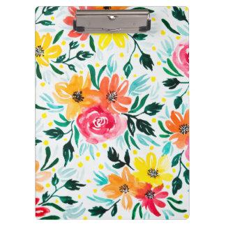 Carpeta De Pinza Modelo amarillo rosado floral de la acuarela