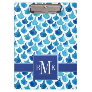 Carpeta De Pinza Modelo azul de la escala de la acuarela