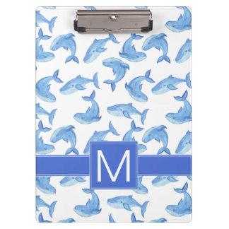 Carpeta De Pinza Modelo de la ballena azul de la acuarela
