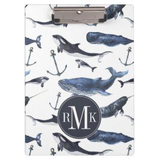 Carpeta De Pinza Modelo de la ballena y del ancla de la acuarela