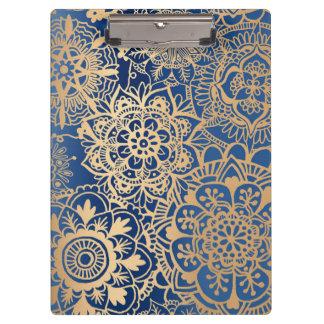 Carpeta De Pinza Modelo de la mandala del azul y del oro