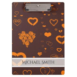Carpeta De Pinza Modelo moderno anaranjado elegante del corazón