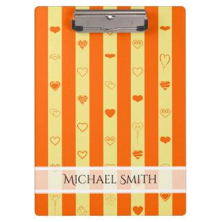 Carpeta De Pinza Modelo moderno del corazón de la raya anaranjada