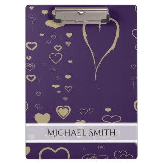 Carpeta De Pinza Modelo moderno púrpura elegante del corazón