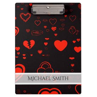 Carpeta De Pinza Modelo moderno rojo elegante del corazón