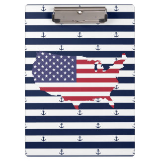 Carpeta De Pinza Modelo náutico americano de las rayas de la