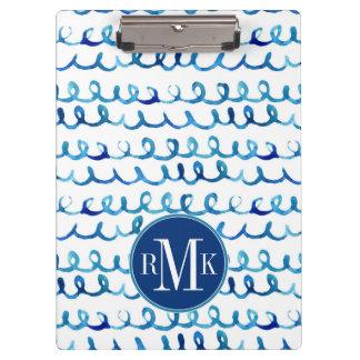 Carpeta De Pinza Modelo ondulado de la acuarela azul pintada a mano