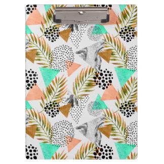 Carpeta De Pinza Modelo tropical geométrico abstracto de la hoja