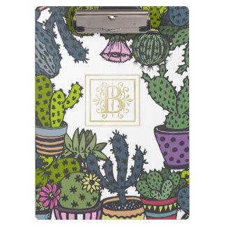 Carpeta De Pinza Monograma B del cactus
