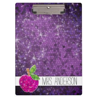 Carpeta De Pinza Nombre rosado púrpura de la sala de clase de Apple