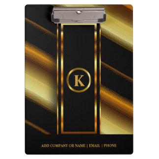Carpeta De Pinza Oro oscuro del monograma y rayas diagonales negras