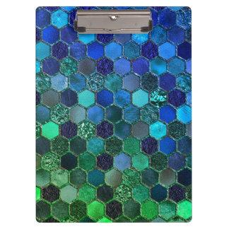 Carpeta De Pinza Panal de lujo del verde azul del brillo de la hoja