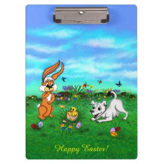 Carpeta De Pinza Pascua - conejo y polluelo de la ceja del perrito