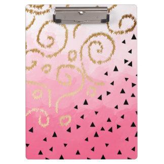Carpeta De Pinza pinceladas geométricas del rosa color de rosa del