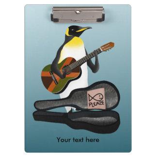 Carpeta De Pinza Pingüino Busking con la guitarra de la bandera de