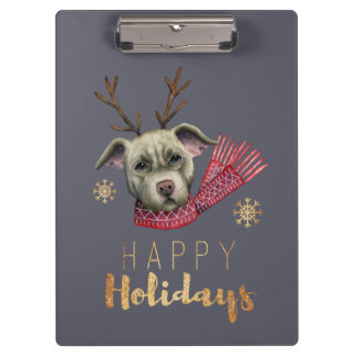 Carpeta De Pinza Pitbull del reno del navidad con las falsas