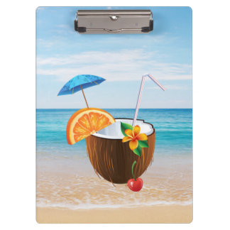 Carpeta De Pinza Playa tropical, cielo azul, arena del océano, coco