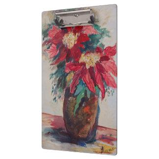 Carpeta De Pinza Poinsettias en un florero de Brown