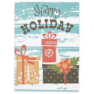 Carpeta De Pinza Presentes felices del día de fiesta del navidad