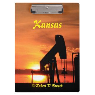 Carpeta De Pinza Puesta del sol de Kansas con el tablero de clip de