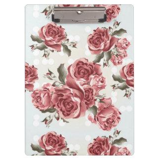 Carpeta De Pinza Ramo dibujado romántico de los rosas rojos del