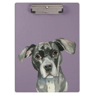 Carpeta De Pinza Retrato negro de la acuarela del perro del pitbull