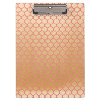 Carpeta De Pinza Rosa de la foto de la hoja de oro