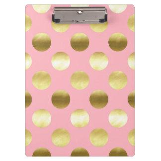 Carpeta De Pinza Rosa elegante de los lunares de la hoja de oro
