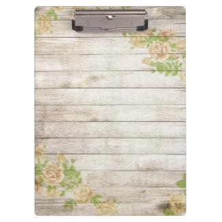 Carpeta De Pinza Rosas amarillos modernos del fondo de madera del