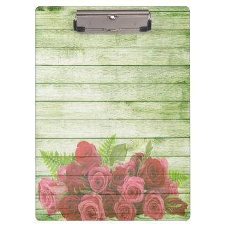 Carpeta De Pinza Rosas elegantes modernos del fondo de madera