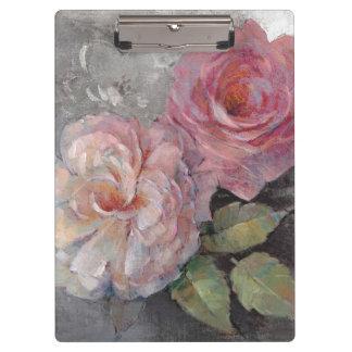 Carpeta De Pinza Rosas en gris