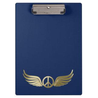 Carpeta De Pinza Símbolo de paz metalizado de la mirada con las