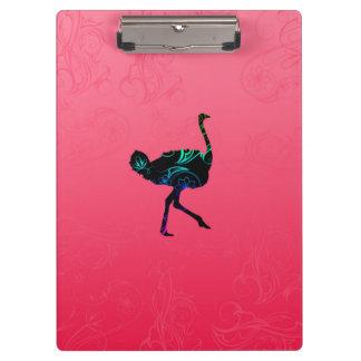 Carpeta De Pinza Tablero abstracto de la avestruz