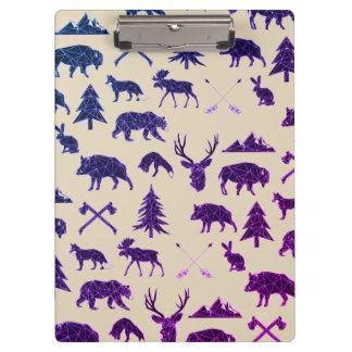 Carpeta De Pinza Tablero de clip animal geométrico de los animales