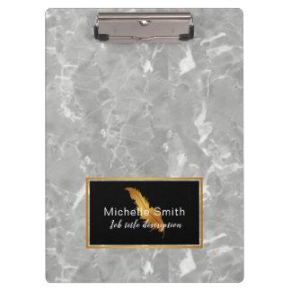 Carpeta De Pinza Tablero de clip elegante del mármol del oro