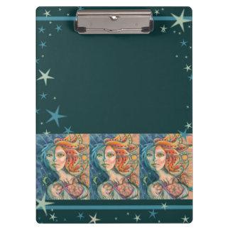 Carpeta De Pinza Tablero de la diosa de la fantasía con la luna y