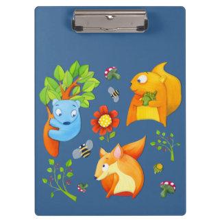 Carpeta De Pinza Tablero del azul de la diversión del arbolado