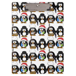 Carpeta De Pinza Tablero lindo de los pingüinos del personalizar