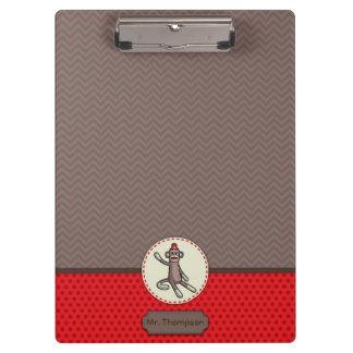 Carpeta De Pinza Tablero personalizado del mono del calcetín