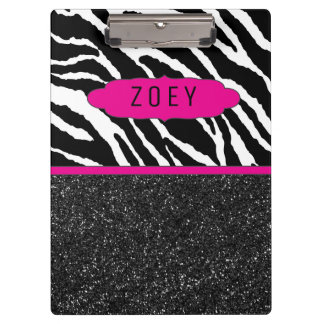 Carpeta De Pinza Tablero personalizado rosado de la raya w/Glitter