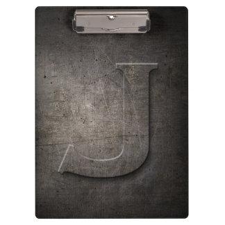 Carpeta De Pinza Tablero rústico del monograma del metal J