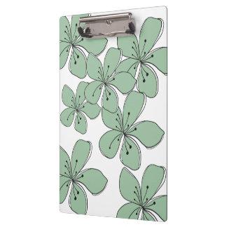 Carpeta De Pinza Tablero verde floral