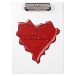 Carpeta De Pinza Tiffany. Sello rojo de la cera del corazón con