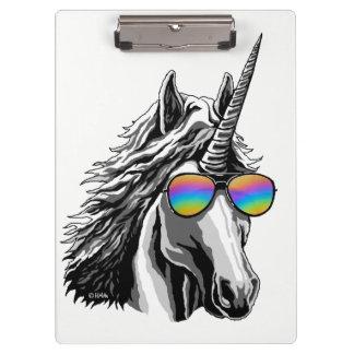 Carpeta De Pinza Unicornio fresco con las gafas de sol del arco