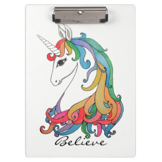 Carpeta De Pinza Unicornio lindo del arco iris de la acuarela