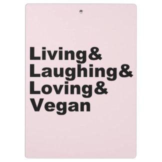 Carpeta De Pinza Vida y risa y amor y vegano (negro)