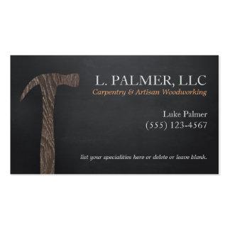 Carpintería de madera del logotipo del martillo tarjetas de visita