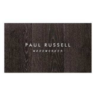 Carpintería rústica del grano de madera oscuro tarjetas de visita