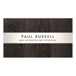 Carpintería rústica y suelo del grano de madera tarjetas de visita