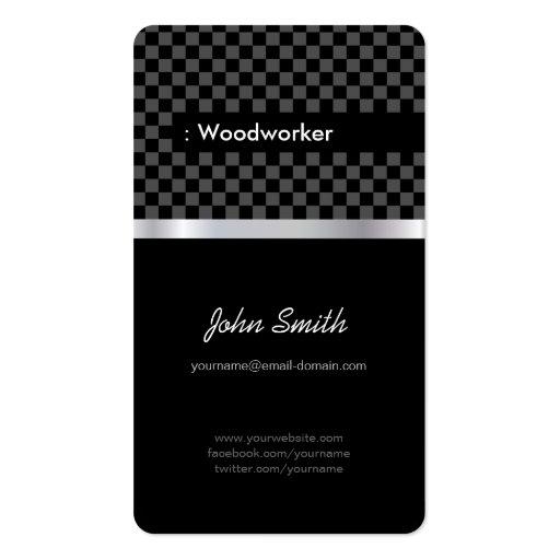 Carpintero - a cuadros negro elegante tarjeta de visita